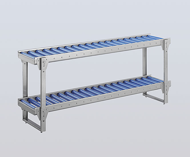 Dual stainless steel roller conveyor